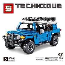 Técnica t0y0ta landes cruzadores puxar para trás blocos de construção do carro moc simulação modelo tijolos crianças brinquedos namorado presente para adulto 8500