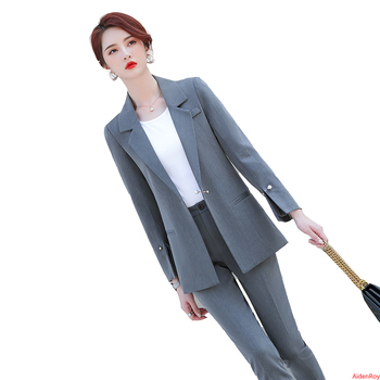 Gray New 2020 Autumn Women Formal Pant Suits Long Sleeve Blazer and Pants Office Ladies Business Work Wear Suits Set 2 Pieces sky blue female suits pants women business elegant autumn blazer and trousers pants suit set office formal ol work wear 2 pieces
