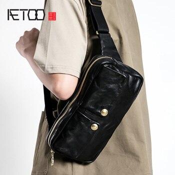AETOO Mens trend real cowhide slant bag, mens chest leather casual shoulder bag