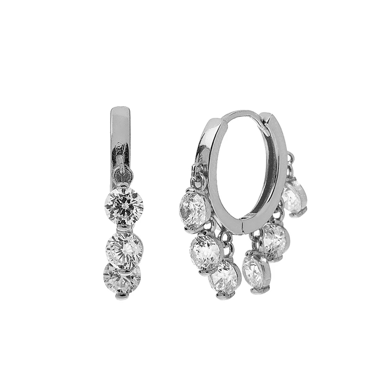 Silverly mujeres 925 Sterling Silver Cubic Zirconia Stud Huggie Aro