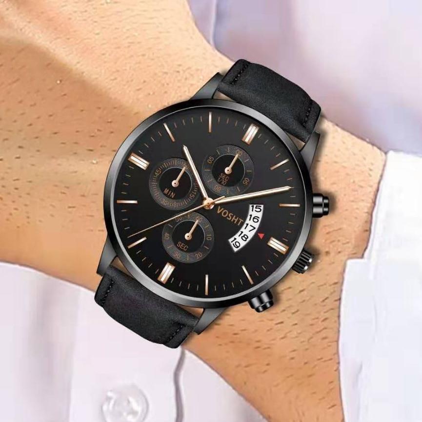 2019 Relogio Masculino Watches Men Fashion Sport Calendar Watch Leather Band Watch Quartz Business Wristwatch Reloj Hombre Saat