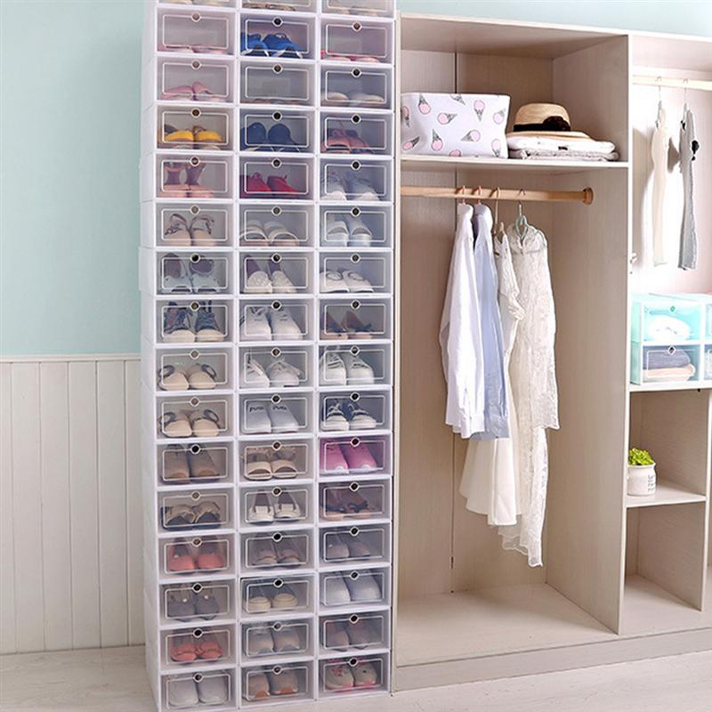 Transparent and Stackable Shoes Storage Boxes of Plastic in White Color 1