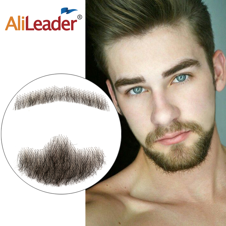 Alileader Popular And Cheap Breathable Fake Beard Natural Curvature Hand Made 100% Real Human Hair Beard Invisible Lace Mustache image