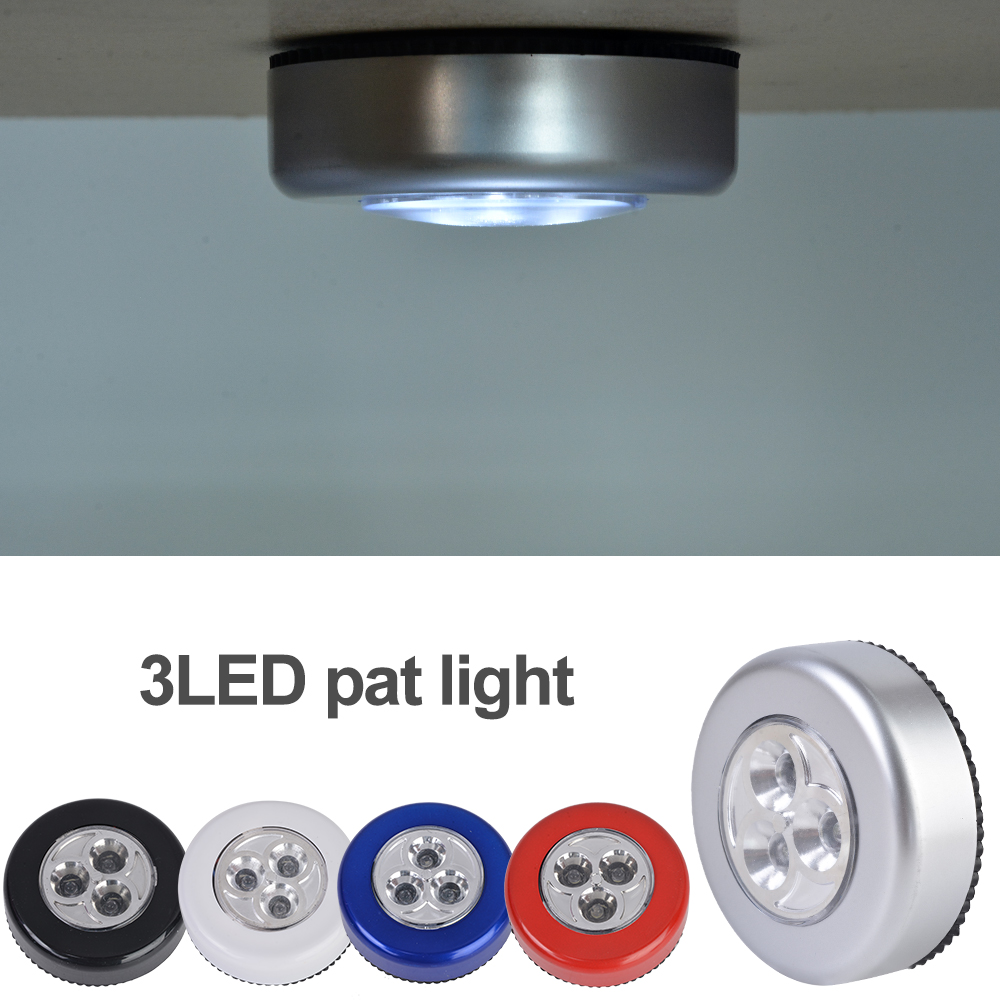 3 LED Mini Touch Light Night Lights Wireless  Cabinet Lights Outdoor Car Lamp Hanging Wall Lamps Kitchen Wardrobe