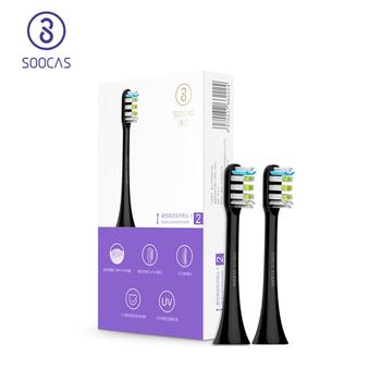 Soocas X3 X1 metalu uciekają wymiana głowicy do elektryczne szczoteczki do zębów szczoteczka do czyszczenia dyszy dla szczotka elektryczna xiaomi soocare głowice tanie i dobre opinie CN (pochodzenie) SOOCAS X3 heads Z tworzywa sztucznego Szczoteczki do zębów głowy 2 pcs Dorosłych Acoustic Wave toothbrush heads