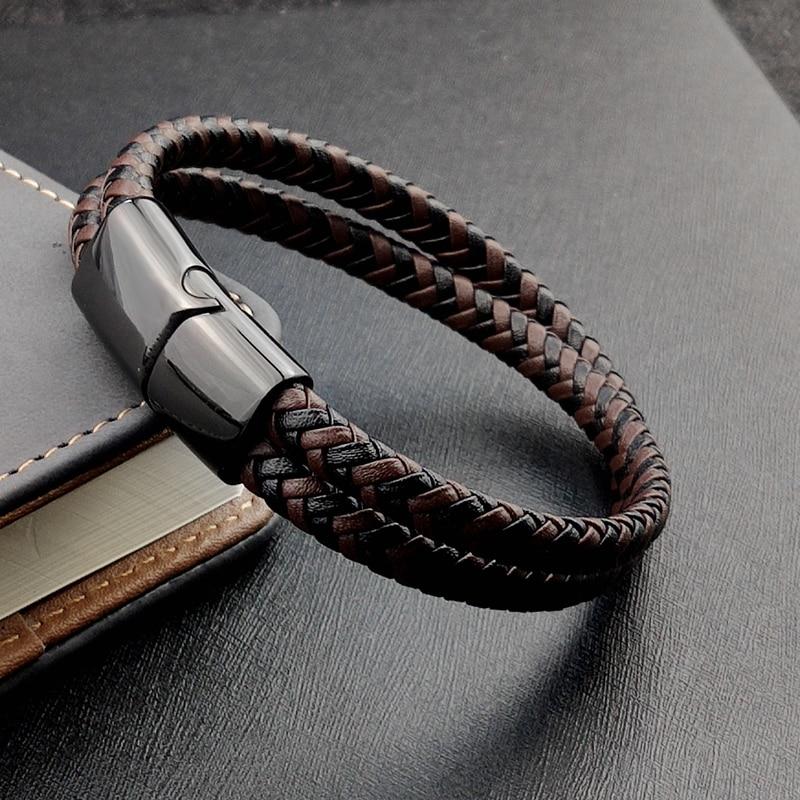 Bracelet en titane et acier, Double couche, marron et noir, corde tressée, de haute qualité, en acier inoxydable, magnétique, idée cadeau pour femmes 5