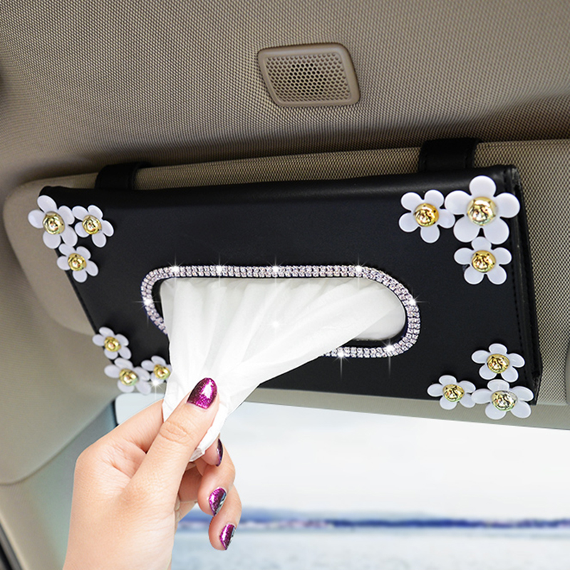 1 Pcs Car Crystal Paper Box with Chrysanthemum Crystal Tissue Box Cae Interior Decoration Accessories for Sun Visor Type
