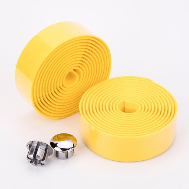 Road Bicycle Handlebar Tape Pure Color Bike Handle Belt  Wrap Bar Plugs absorb sweat Steering Wheel Cover Non-slip Rubber 1