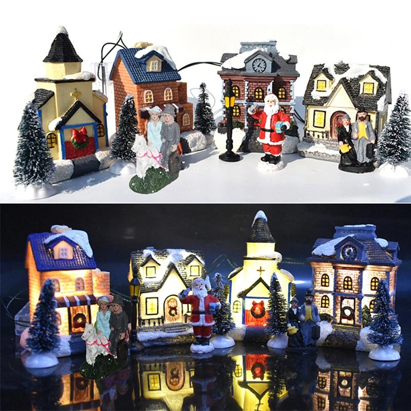 10 шт./компл. Рождественский Снежный дом Санта-Клаус наборы крошечных сцен светящиеся светодиодные подсветки Рождественская елка магазин де...