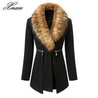 Black Coat Female 2019 Winter Women Parka Long Windproof Jackets Alpaca Coat Women Rabbit Fur Collars Stitching XL 5XL