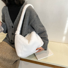 Shoulder-Bags Fluffy Plush Female Winter Women Soft for Autumn Solid-Color Large-Capacity