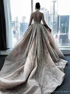Image 5 - Luksusowy kryształ zroszony suknie ślubne syrenka z odpinanym pociągiem Sexy długie rękawy na szyję arabski suknia ślubna Mulslim