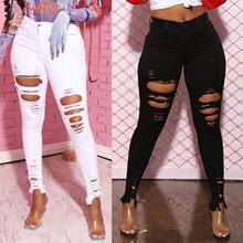 Novo preto branco estiramento rasgado jeans calças de brim magros mulheres denim calças buracos destruído joelho lápis calças casuais