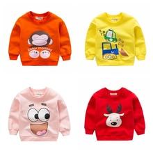 Новинка года; сезон весна-осень; свитера для маленьких девочек; детские толстовки с капюшоном; хлопковый свитер с длинными рукавами и рисунком животных; детская футболка; одежда