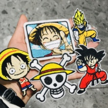 1Pcs Anime One Piece Luffy Embroidery Sew On Patches Applique Badge Craft Embroidered