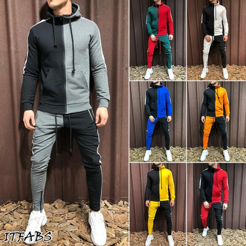 Jogger Sets Sportswear Mens Hoodie Gym Zip Drawstring Pocket Striped Splicing Slim Fit Racksuit Set Chandal Hombre