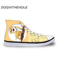 2019 New Women Cute Canvas Shoes Pitbull Pattern Vulcanize Shoes Students Casual Low Heel High Top Sneakers Deportivas Mujer