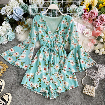 Women Floral Print Playsuits New Summer Sexy V Neck Vintage Trumpet Sleeve Shorts Rompers Woman Beach Bandage Chiffon Overalls