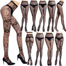 2020 New Arrival Plaid Pantyhose Women Nylon Mesh Tight With Pattern Fishnet Stockings Plus Size Sexy Panty