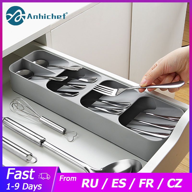 Держатель для ножей Кухня Столовые приборы держатель для ножей Кухня Органайзер Кухонный Контейнер Ложка Вилка для хранения разделительный блок для ножей-0
