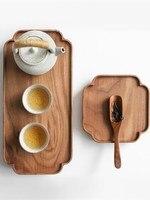 Drewno Kungfu taca do serwowania herbaty czarny orzech prostokątna kreatywna taca z koronki chiński stylowy do przechowywania tacy w Tace do herbaty od Dom i ogród na