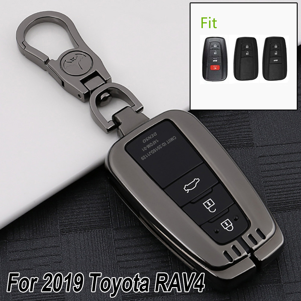 For Toyota RAV4 2019 Car Key Case Black Scratch-resistant Shell Smart Cover Chain New