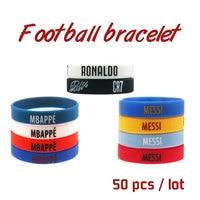 50pcs Mix football Player Silicone Bracelet High Quality Wristband Adult Kids Size Fashion Signature Jewlry for Gift