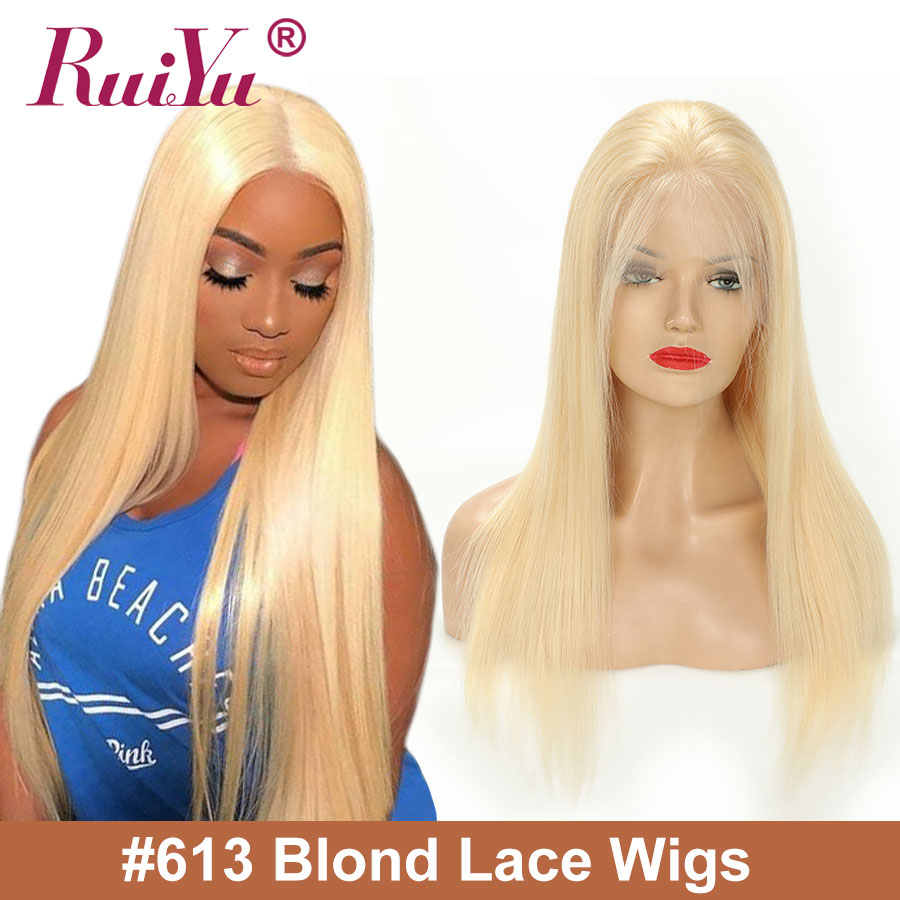 Transparent Lace Front Human Hair Wigs 613 Honey Blonde Lace Front Wigs Peruvian ace Front Wig RUIYU Remy Hair image
