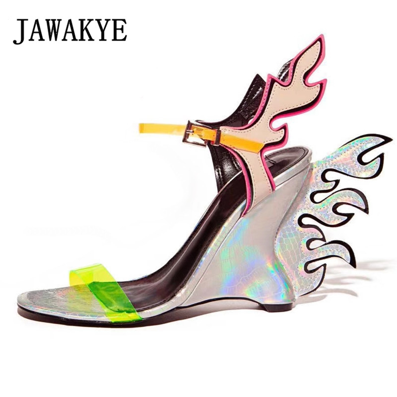 Wedge-Sandals Runway Wings Summer Shoes Orange High-Heel Flame Novelty Mixed-Color Women