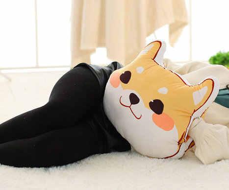 الجملة لطيف الأصفر الكلب ألعاب من القطيفة شيبا Inu القماش دمية الشتاء اليد الدافئة مخدة ناعمة وسادة هدية عيد ميلاد الاطفال طفلة