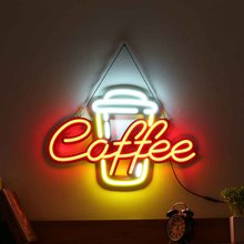 Neon Sign Light Tube LED Visual Artwork Lamp Coffee Bar Club Wall Decoration Commercial Lighting Neon Bulbs Fixture 60*40*3cm(China)