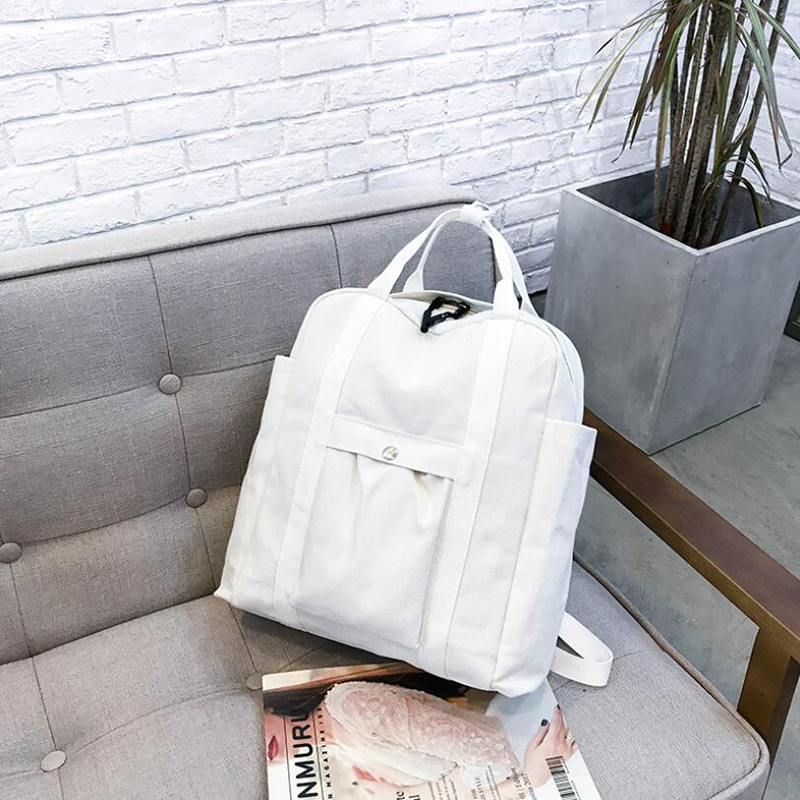 Backpacks Shoulder Bag School Backbag Fashion Soft Handle Solid Casual Canvas Women For Student Unisex Silt Pocket White Black