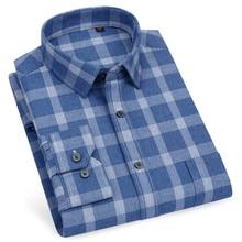 قميص رجالي 100% قطن منقوش متقلب متقلب جيب واحد قياسي تيشيرت ضيق بأكمام طويلة سميكة دافئة عادية قمصان القماش القطني