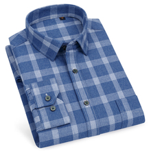 Mens 100% Cotton Brushed Plaid Checkered Shirt Single Patch Pocket Standard fit Long Sleeve Thick Warm Casual Gingham Shirts