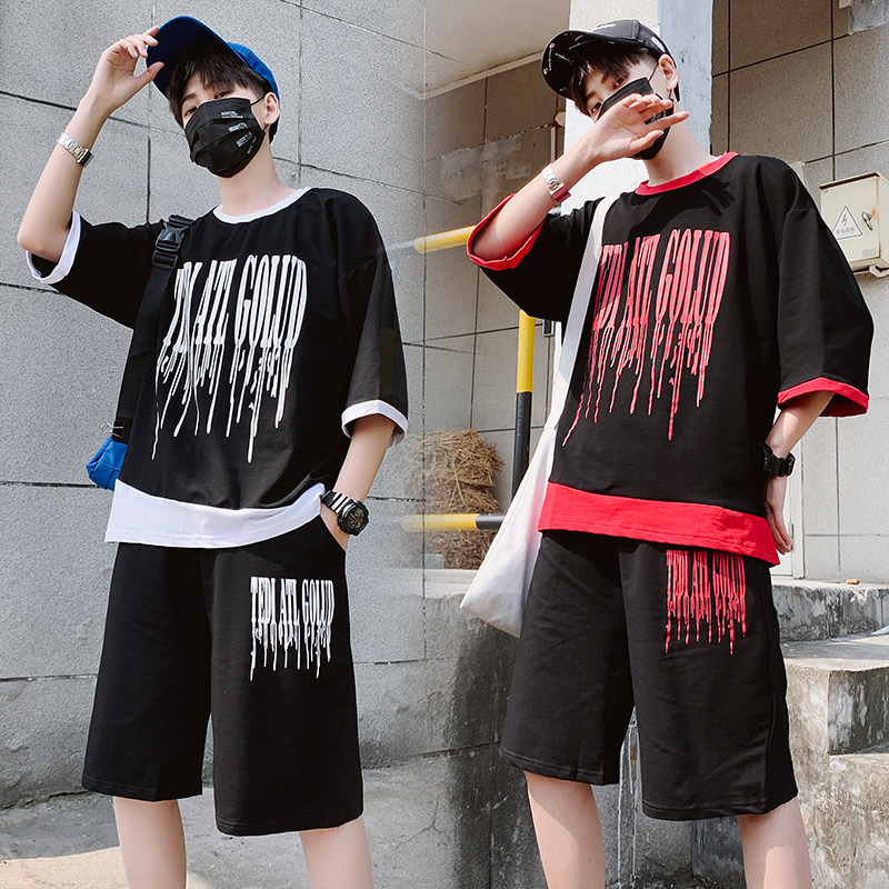 2019 Men's Casual Wear Set Korean-style COUPLE'S Trend Sports A Set Of Half Sleeve Shorts T-shirt Men And Women Summer Wear
