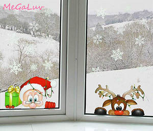 Static-Sticker Jewelry Dress-Up Snow-Flake Party-Glass Christmas Large Home-Windows Santa