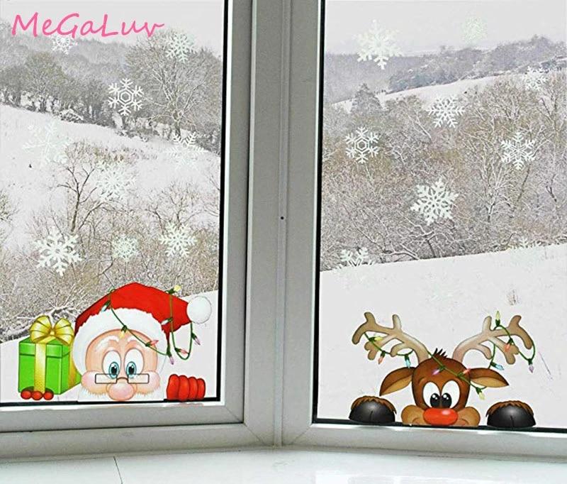 Санта-Лось Рождество ПВХ Статические наклейки украшают дома окна большой снег чешуйчатая Наклейка на стену Новый Год Вечерние стеклянные наряды ювелирные изделия