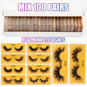 10/20/40/50/100 Natural Mink Eyelashes Wholesale Lashes real mink lashes Cruelty free 100% Handmade 5D Mink Lashes In Bulk