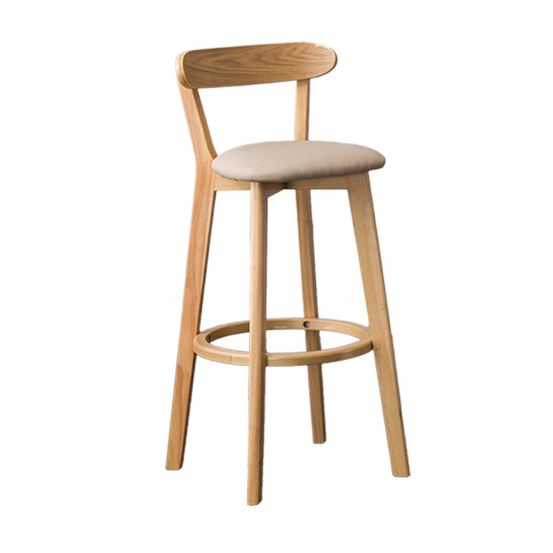 Solid Wood Bar Chair Back Simple North European Home Milk Tea Shop Coffee  Retro   Front Desk Stool