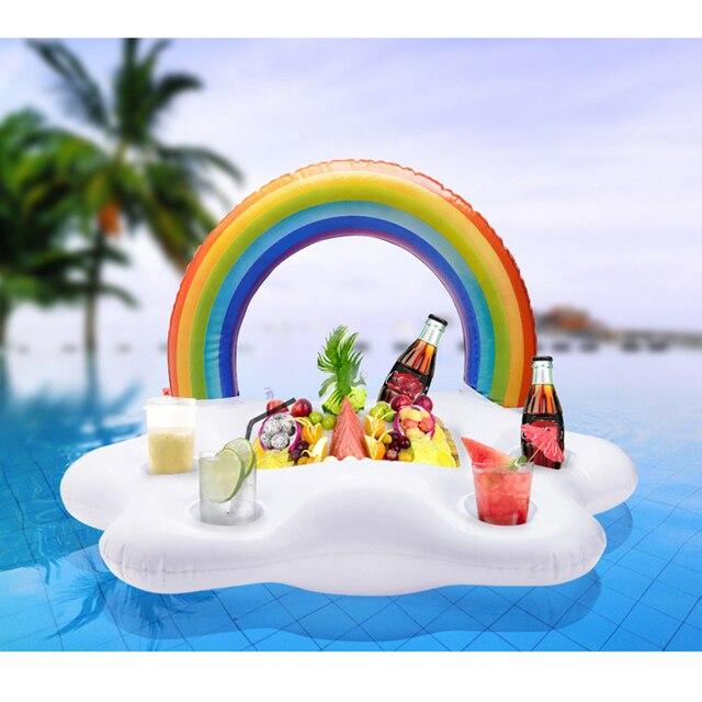 테이블 바 트레이 비치 수영 반지 여름 풀 파티 양동이 레인보우 클라우드 컵 홀더 풍선 풀 플로트 맥주 음주 쿨러