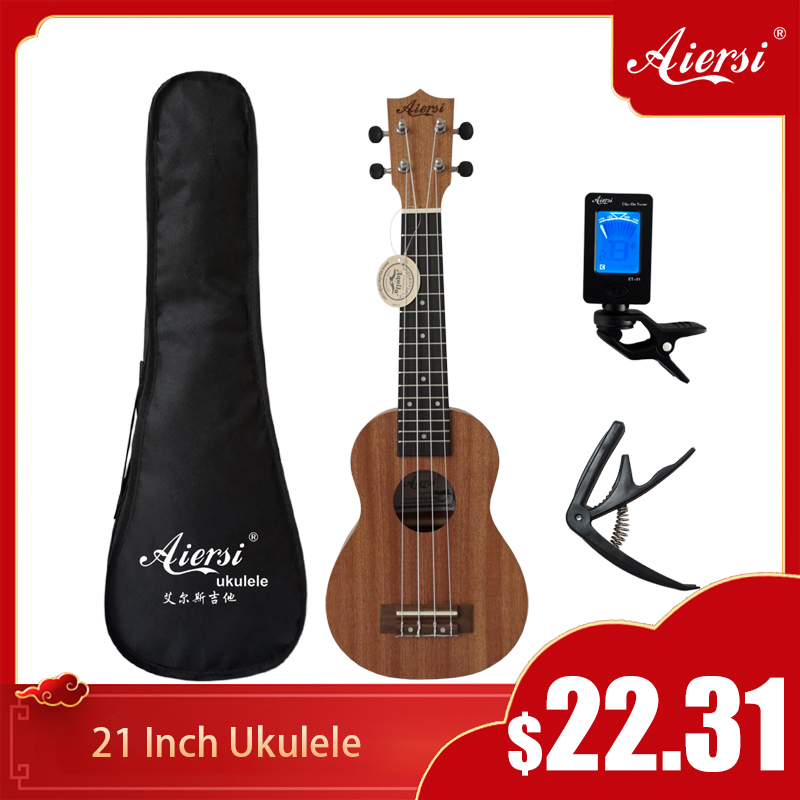 Aiersi Brand 21 Inch Ukelele Mahogany Soprano Gecko Ukulele Musical Instrument Guitar 4 String Hawaiian Mini Guitarre