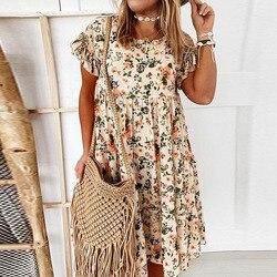 2021 летние Цветочный принт платье в богемном стиле с оборками с коротким рукавом; Платья трапециевидной формы элегантные свободные толстовк...