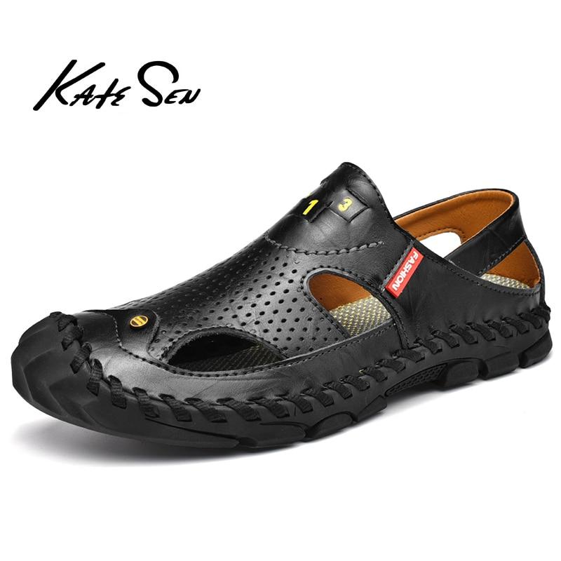 2020 New Summer Men Sandals Breathable Beach Sandals Men Casual Shoes High Quality Genuine Leather Men's shoes Big Size 38-46