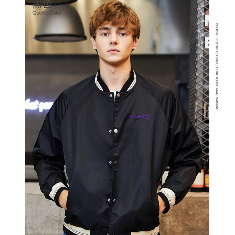 SEMIR Men Embroidered Baseball Jacket Contrasted Trim Silky Nylon Bomber Jacket Slant Pocket Snap Closure Spring Coat For Man