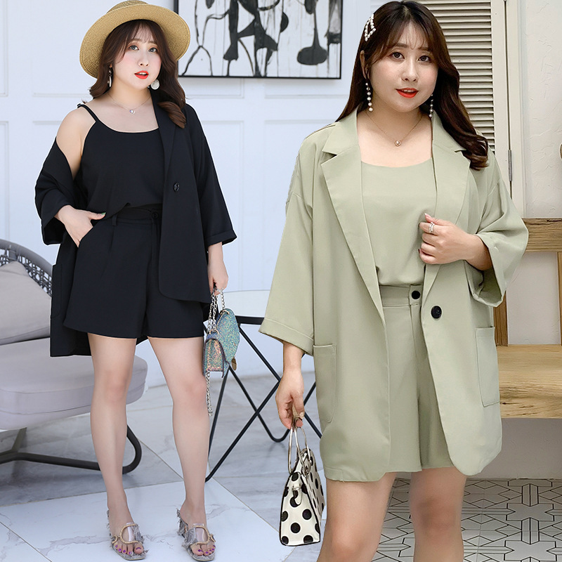 [Xuan Chen] Large GIRL'S Large Size Dress 2019 Autumn New Products Loose-Fit Three-piece Set Leisure Suit Small Suit Y084