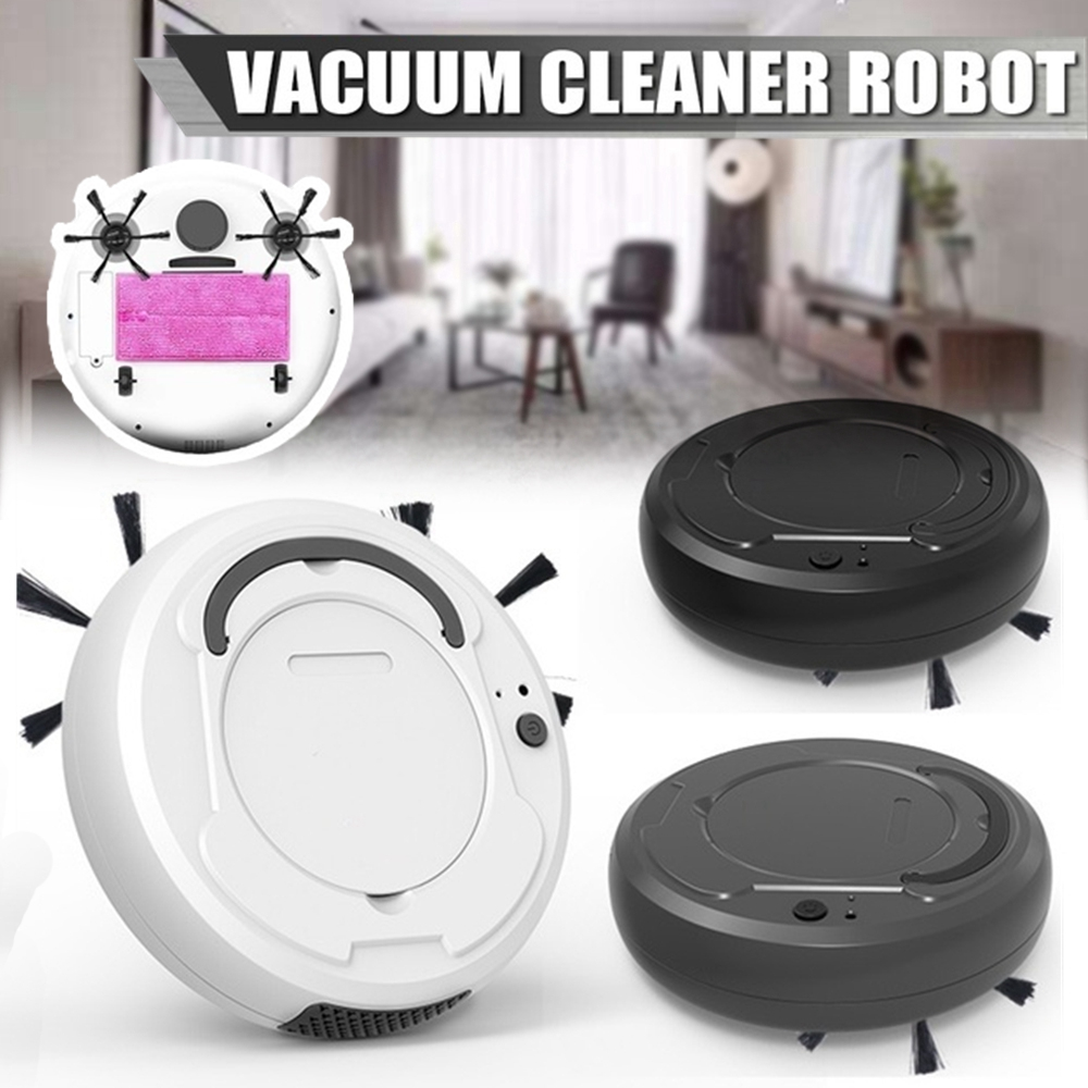 3 in 1 Auto Sweeping Robot Vacuum Cleaner USB Rechargeable Smart Floor Mop Cleaning Home Office Dry & Wet Sweeping Cleaner Brooms & Dustpans     - title=