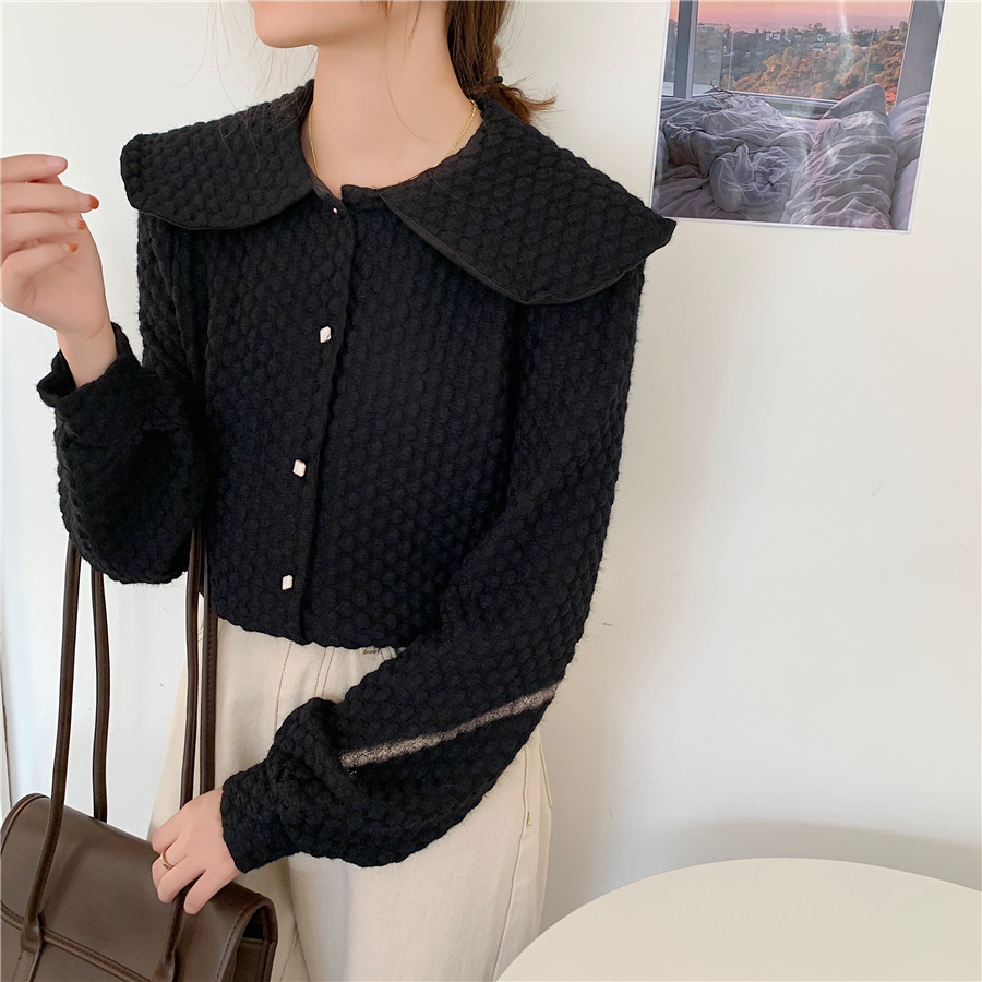 Hbd2a51d72e5d46daa9472f5e2ba835e3B - Spring / Autumn Big Lapel Long Sleeves French Lace Buttons Blouse