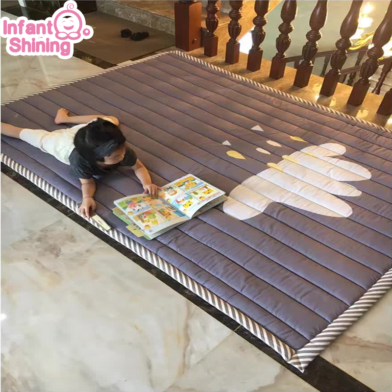 Infant Shining Baby Play Mat Cotton Playmat For Child 2cm Thickness Non-slip Rug 140*200cm Children Game Carpet Machine Washable