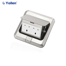 All Aluminum Panel UK Standard Pop Up Floor Socket 2 Way Electrical Outlet Modular Combination Power Double Outlet joho aluminum black silver panel eu standard pop up desktop table socket electrical outlet with customized port pc 158