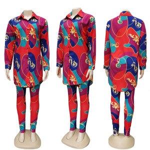 Image 5 - 2 sztuka zestawy afryki zestawy dla kobiet nowy afryki druku elastyczna Bazin workowate spodnie Rock styl Dashiki rękaw znane garnitur dla pani